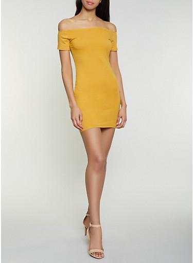Solid Off the Shoulder Mini Dress,MUSTARD,large
