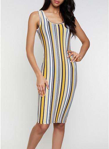 Soft Knit Striped Tank Dress | 1094015052134,COBALT,large