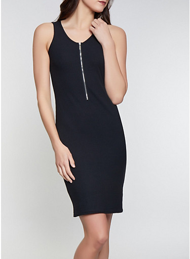 Half Zip Tank Dress,BLACK,large
