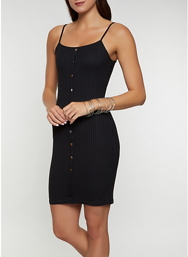 Rib Knit Bodycon Cami Dress   1094034280514,BLACK,large