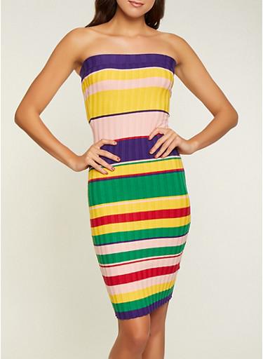 Striped Rib Knit Tube Dress,MULTI COLOR,large