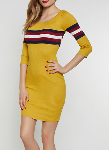 Stripe Detail Sweater Dress,MUSTARD,large