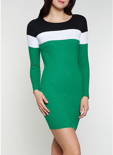 Color Block Sweater Dress,GREEN,large