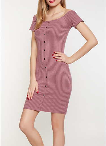 Off the Shoulder Rib Knit Dress,ROSE,large