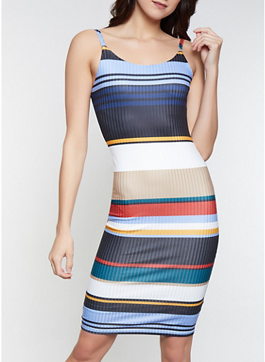 Striped Bodycon Dress,NAVY,large