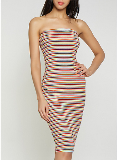 Striped Ribbed Knit Tube Dress,RED,large