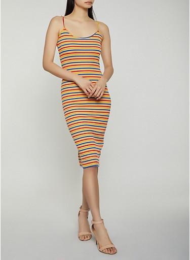 Striped Ribbed Knit Cami Dress,MUSTARD,large