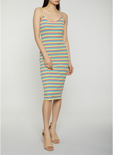 Rainbow Striped Cami Dress,MULTI COLOR,large