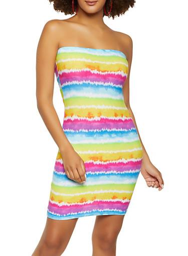 Tie Dye Mini Tube Dress,MULTI COLOR,large