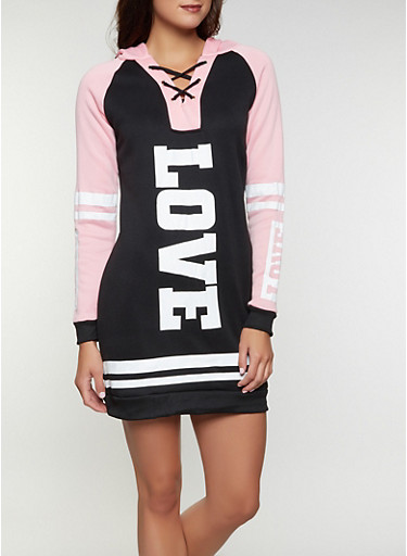 Love Color Block Sweatshirt Dress | 1094038343909,BLACK,large