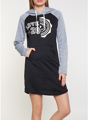 Love Graphic Sweatshirt Dress,BLACK,large