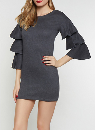 Tiered Sleeve Sweatshirt Dress,CHARCOAL,large