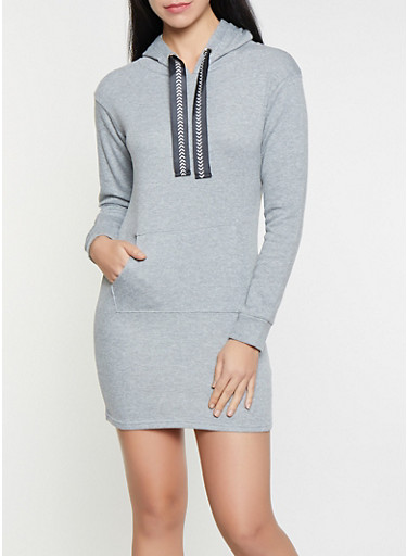 French Terry Lined Hooded Sweatshirt Dress,HEATHER,large