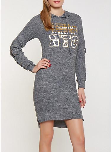 Brooklyn NYC Hooded Sweatshirt Dress,CHARCOAL,large