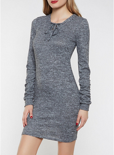 Lace Up Brushed Knit Sweater Dress,CHARCOAL,large
