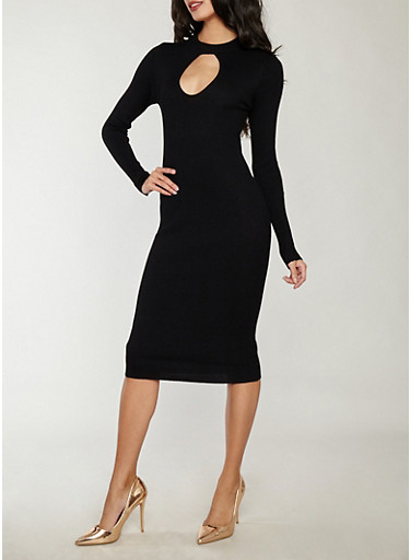 Rib Knit Keyhole Mock Neck Sweater Dress,BLACK,large