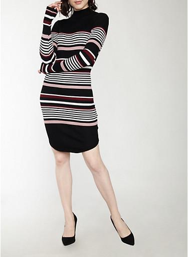 Long Sleeve Striped Sweater Dress,BLK/BURG/MAU/WHT,large