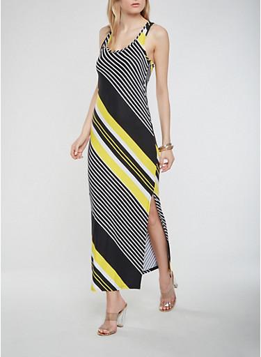 Striped Maxi Racerback Tank Dress,BLACK,large