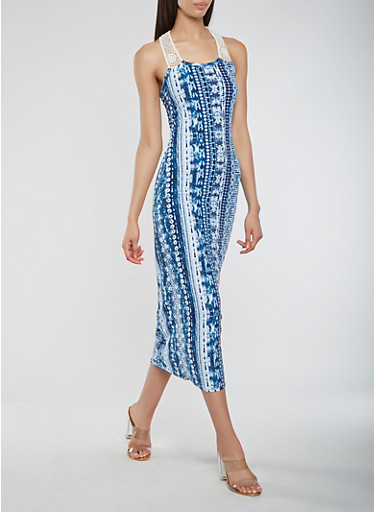 Printed Crochet Trim Tank Dress,NAVY,large
