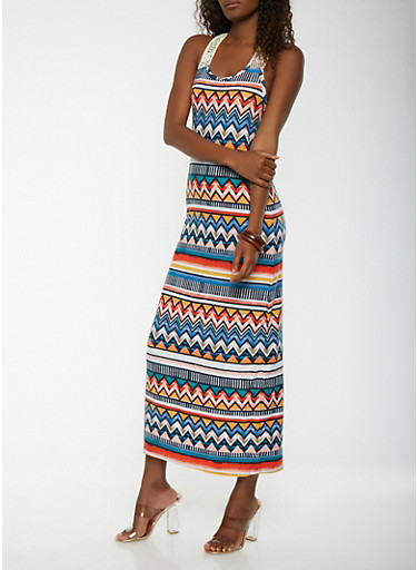 Printed Maxi Tank Dress,MULTI COLOR,large