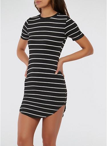 Striped Rib Knit T Shirt Dress   Tuggl