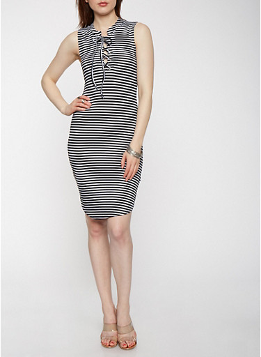 Striped Lace Up Ribbed Knit Dress,BLACK/WHITE,large