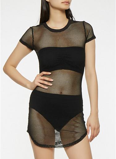 Fishnet T Shirt Dress,BLACK,large