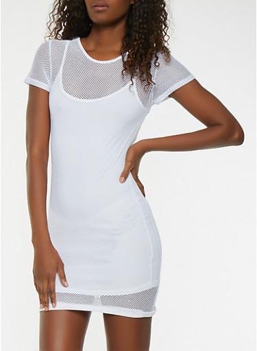 Fishnet Dress,WHITE,large