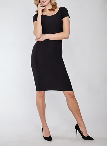 Soft Knit Bodycon Dress,BLACK,large