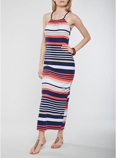 Striped Maxi Tank Dress,NAVY,large