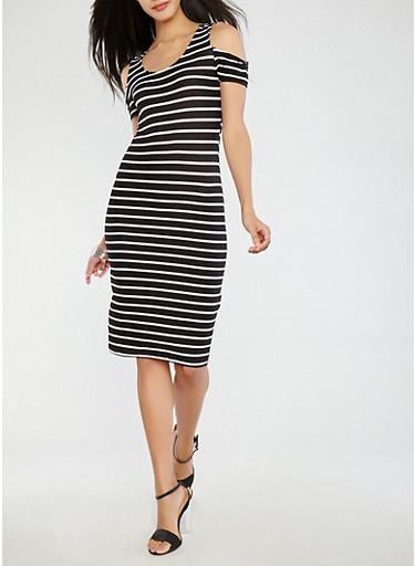 Soft Knit Striped Cold Shoulder Dress,WHT-BLK,large