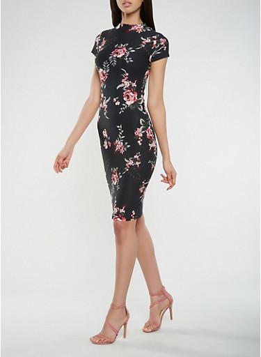 Floral Mock Neck T Shirt Dress,BLACK,large