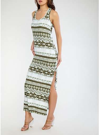Printed Racerback Tank Dress,OLIVE,large