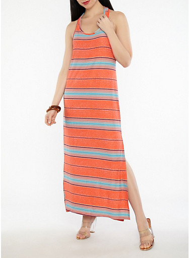 Striped Racerback Maxi Dress,CORAL,large