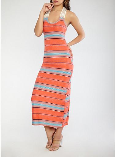 Striped Maxi Tank Dress,CORAL,large