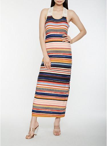 Striped Tank Maxi Dress,MULTI COLOR,large