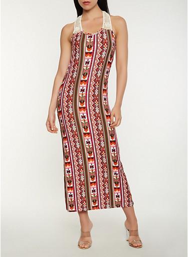 Printed Crochet Detail Tank Maxi Dress,PINK,large