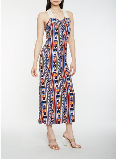 Printed Crochet Detail Tank Maxi Dress | Tuggl