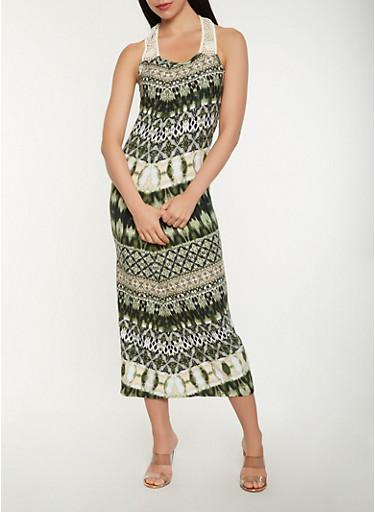 Printed Crochet Detail Tank Maxi Dress,OLIVE,large