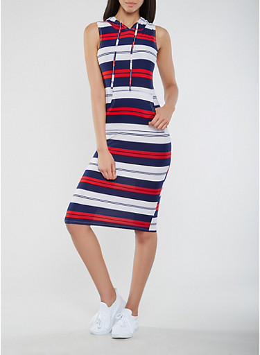 Striped Hooded Tank Dress,NAVY,large