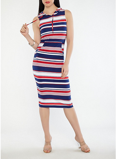 Striped Hooded Maxi Dress,WHITE,large