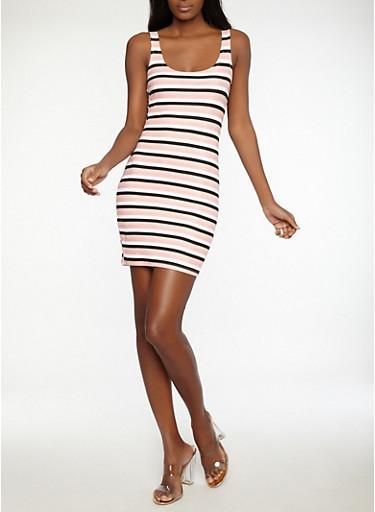Striped Tank Dress,BLACK,large
