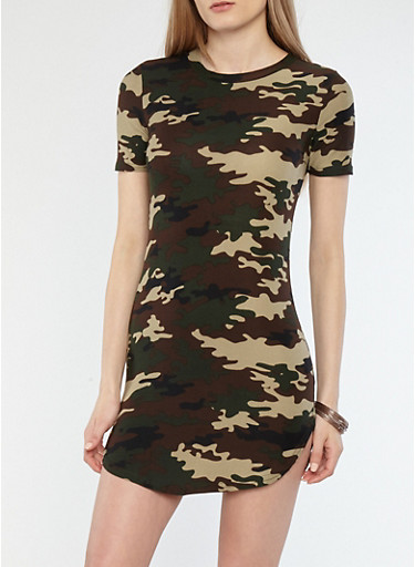 Soft Knit Camo Print T Shirt Dress | Tuggl