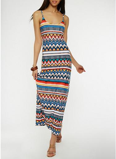 Printed Maxi Tank Dress,MULTI COLOR,large