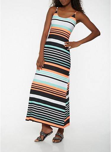Striped Maxi Tank Dress,BLACK,large