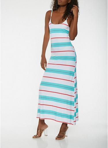 Striped Maxi Tank Dress,WHITE,large