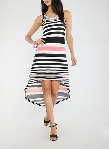Striped High Low Dress,BLACK,large