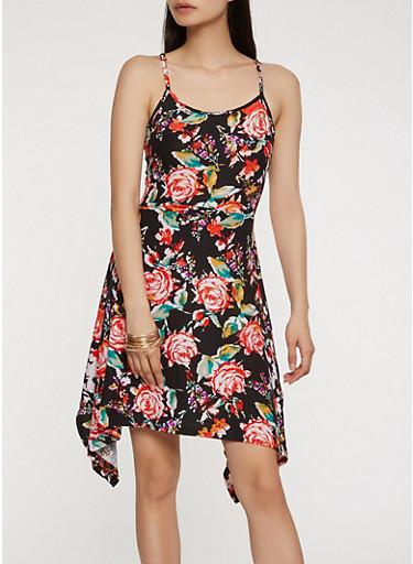 Soft Knit Floral Print Tank Dress,BLACK,large