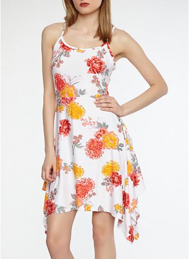 Soft Knit Floral Skater Dress,WHITE,large