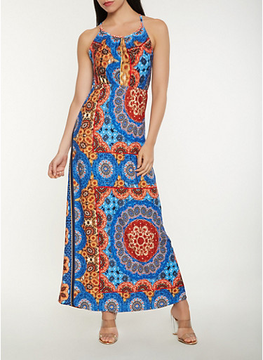 Printed Tank Maxi Dress,MULTI COLOR,large
